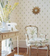 Design Interior French Country White Wall Retro Floral ...
