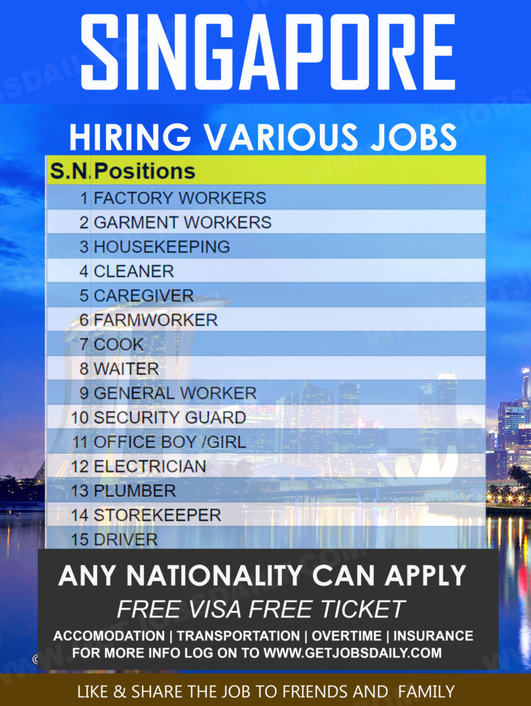 Various jobs in Singapore Hiring now | Apply now