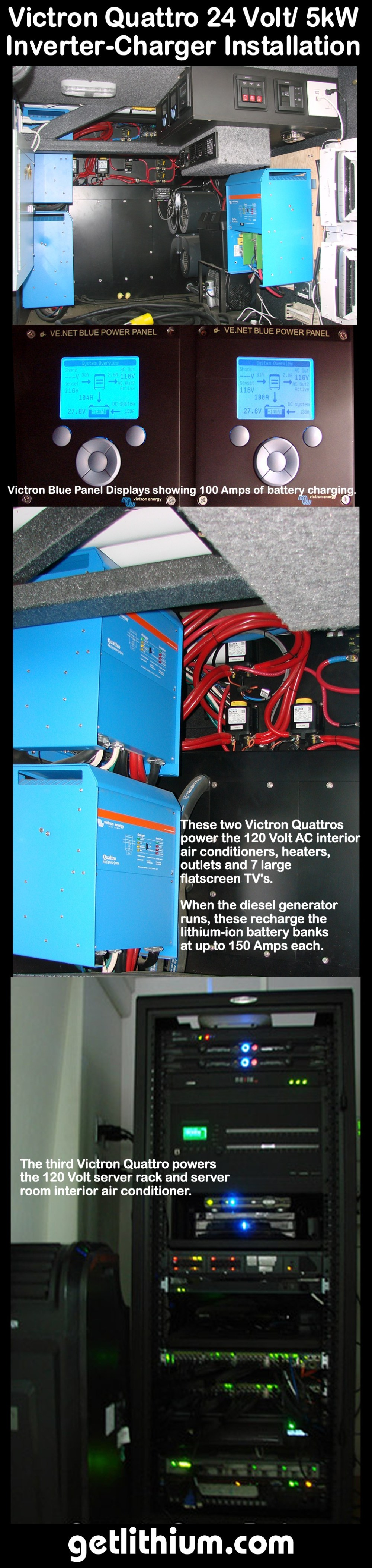 medium resolution of an example of three victron quattro 24 volt 5 000 watt inverter chargers installed on a