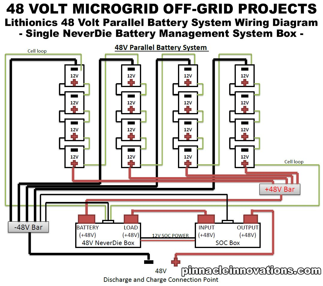 hight resolution of 48 volt parallel battery system pss wiring diagram click here for a larger image in alternate renewable energy off grid energy solar power