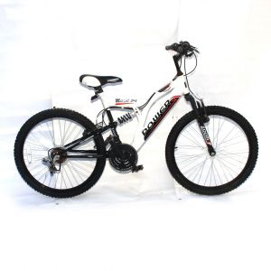 Power Wave 24 inch Wheels x 17 inch Frame White Black Red 18 Speed Full Suspension MTB