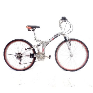 26 inch NEXT Samchuly Full Suspension Folding Mountain Bike Silver Small 16 inch