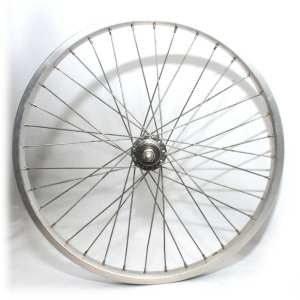 "20"" Rear Wheel Alloy Schrader Rim Silver Steel Hub 128mm Spacing 36H Kids MTB"