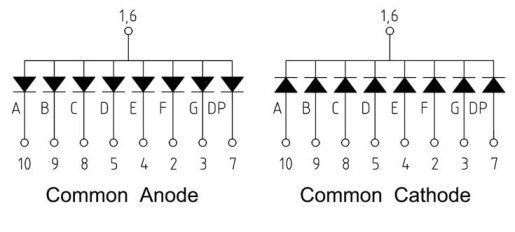 Image result for common anode 7 segment display diagram