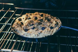 Chocolate chips on top, and now in the oven