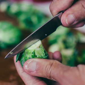 Preparing brussel sprouts for pickling - The Mummy