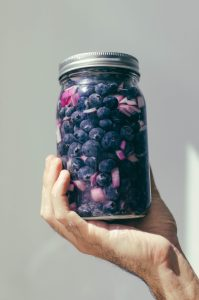 Pickled blueberries in a jar with red onions - The Mummy