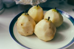 Pears, peeled and ready to poach - The Mummy