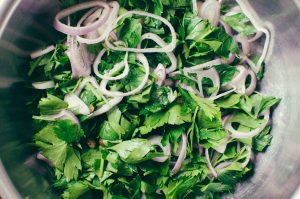 Parsley salad with shallots and capers, top view - The Mummy