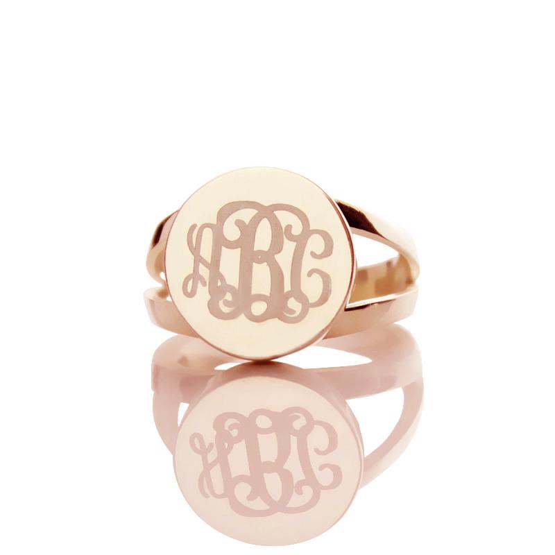 Rose Gold Unique Monogram Ring