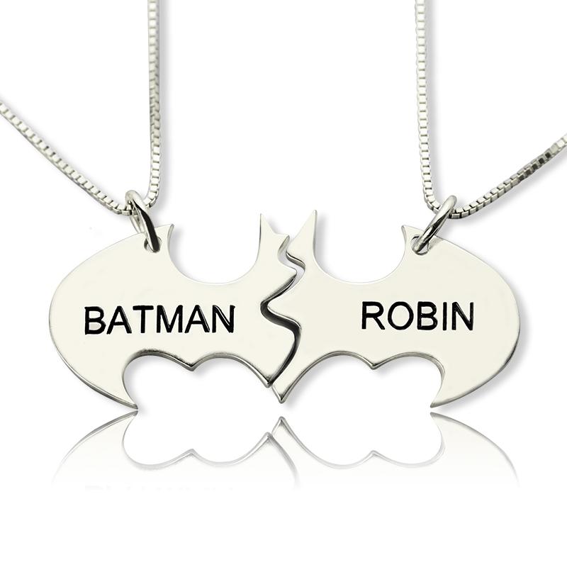 Sterling Silver Personalized Best Friends Batman Puzzle