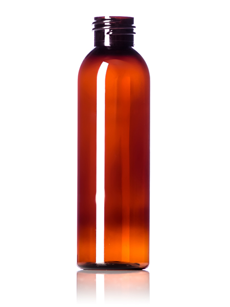 4 oz amber PET cosmo round bottle with 24-410 neck finish
