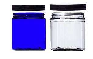 clear blue jar with black lid