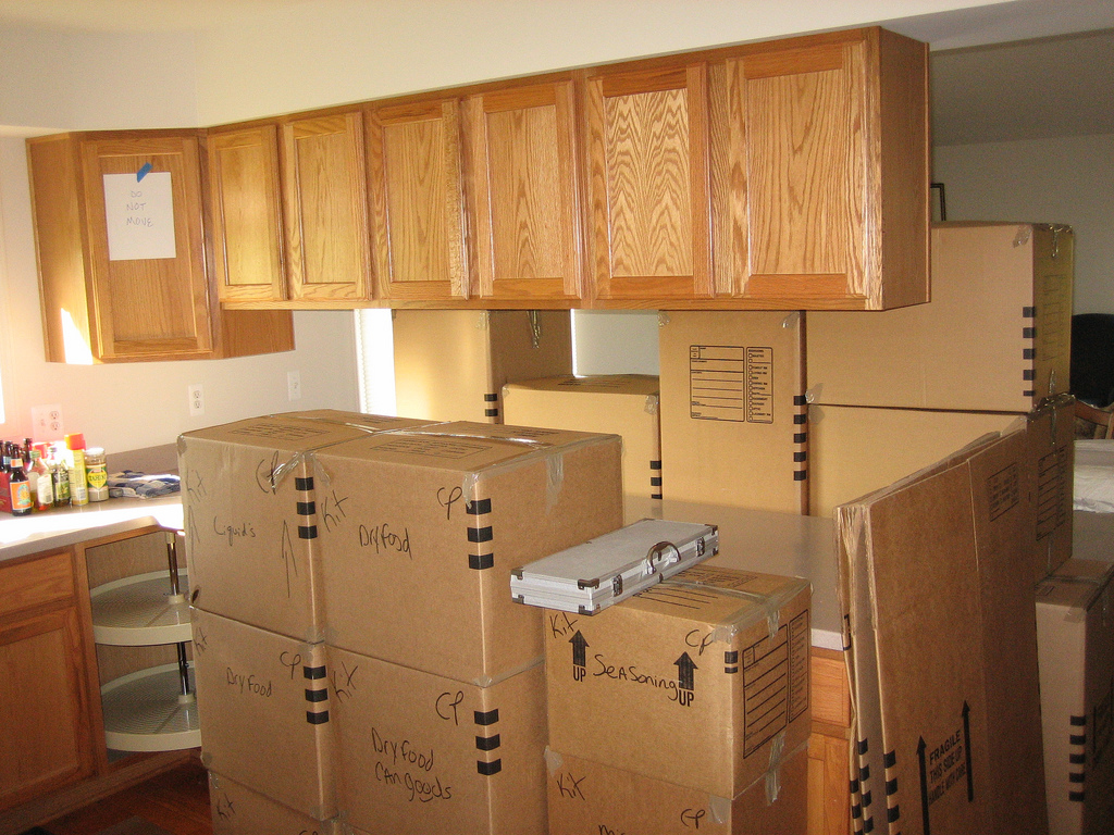 packed moving boxes in a kitchen