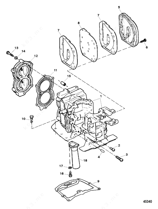 Mercury Force 15 H.P. 1996, Cylinder Block Assembly