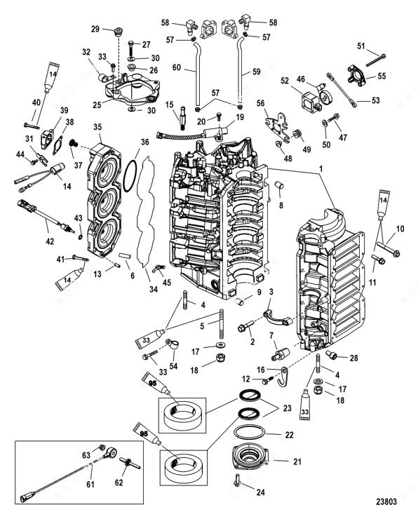 Mercury/Mariner 250 3.0l EFI, Cylinder Block and End Cap