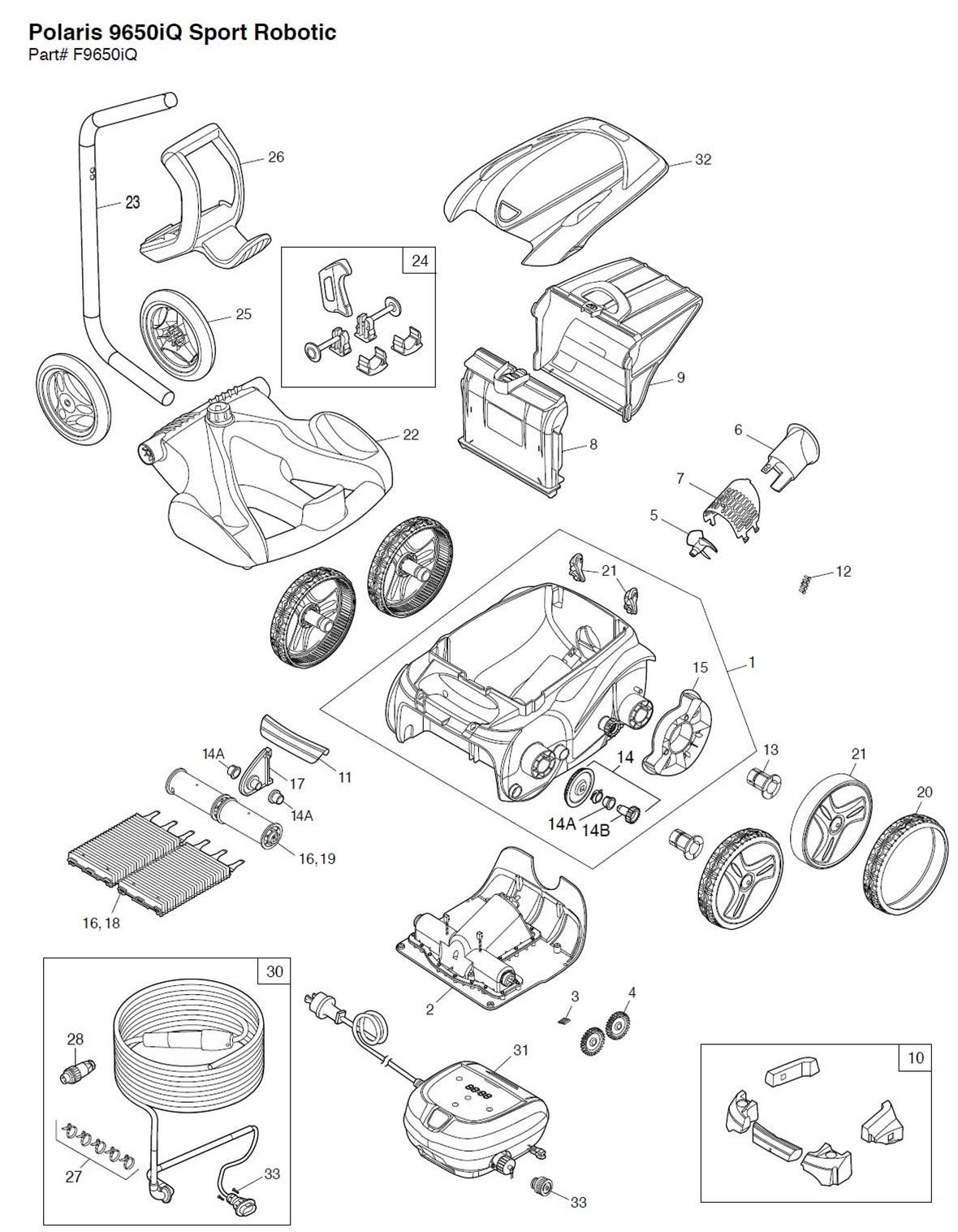 Polaris 9650iQ Sport Robotic Pool Cleaner Parts