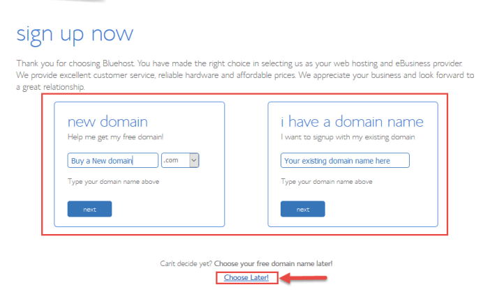 Selecting my domain name - start and Setup a blog today