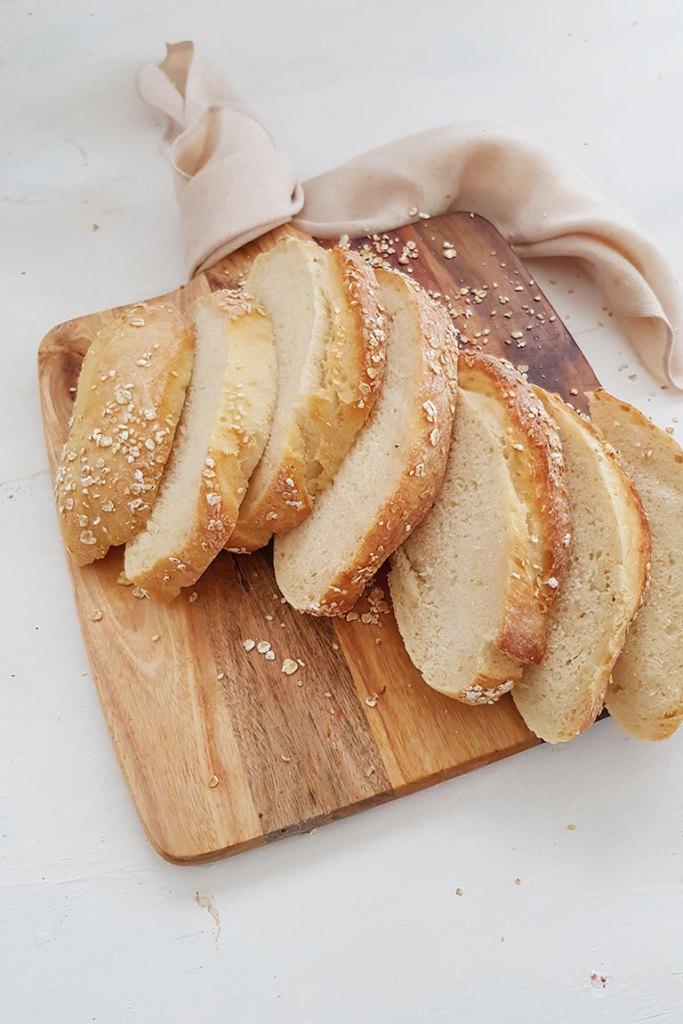 Sliced No Knead Artisan Bread