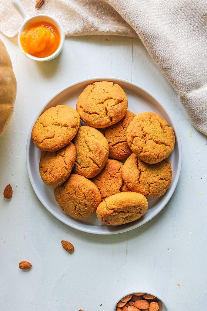 Gluten free pumpkin cookies in a plate