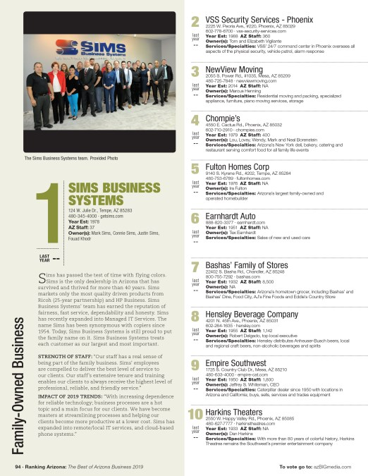 Sims Business Systems is Voted #1 Family-Owned Business in Arizona – Ranking Arizona 2019