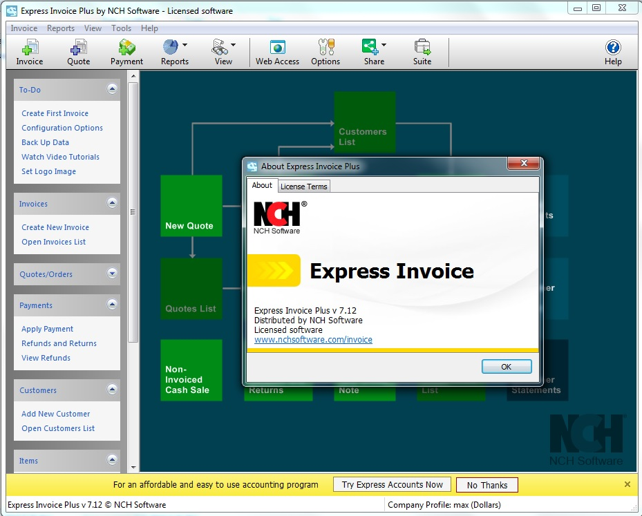 NCH ​​Express Invoice Plus Crack Serial Key