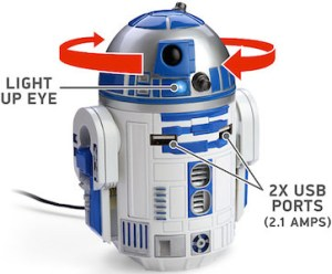 Star Wars USB charger shaped like R2-D2