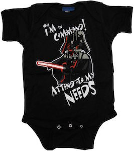 Star Wars baby bodysuit with Darth Vader on it