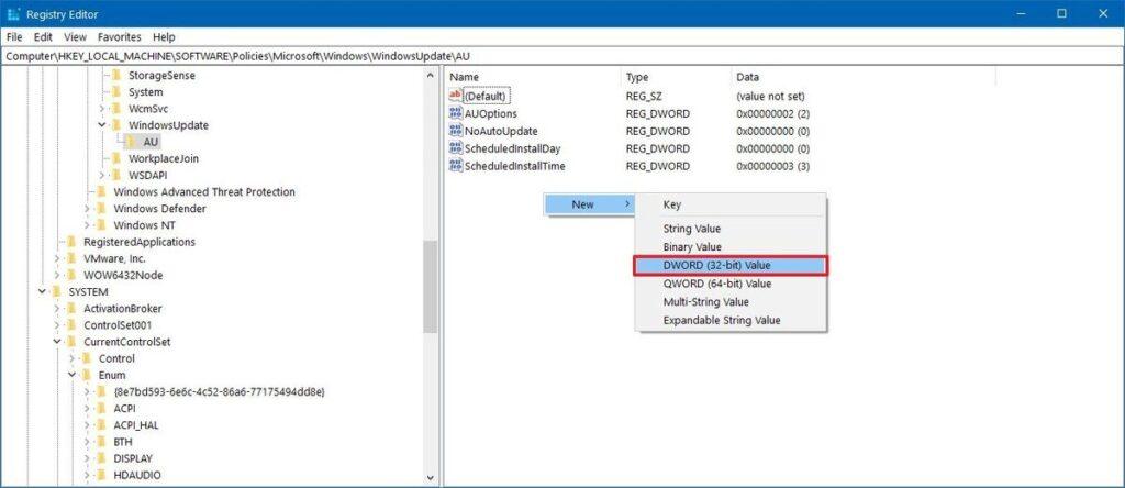 Windows 10 AUOptions Registry key