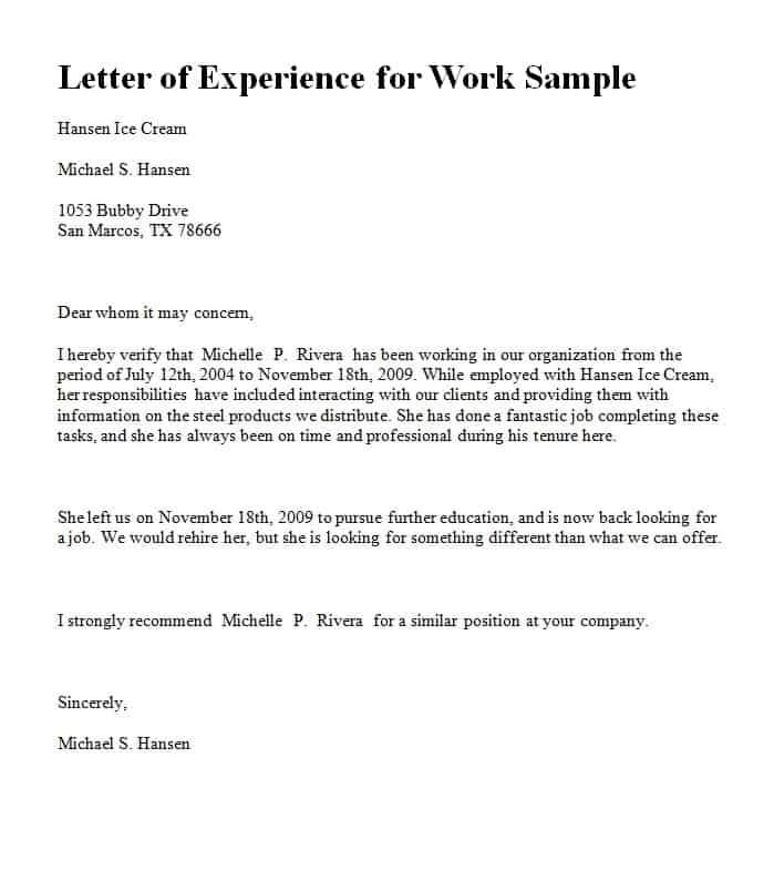 Experience Letter Template  Word  Excel  PDF Formats