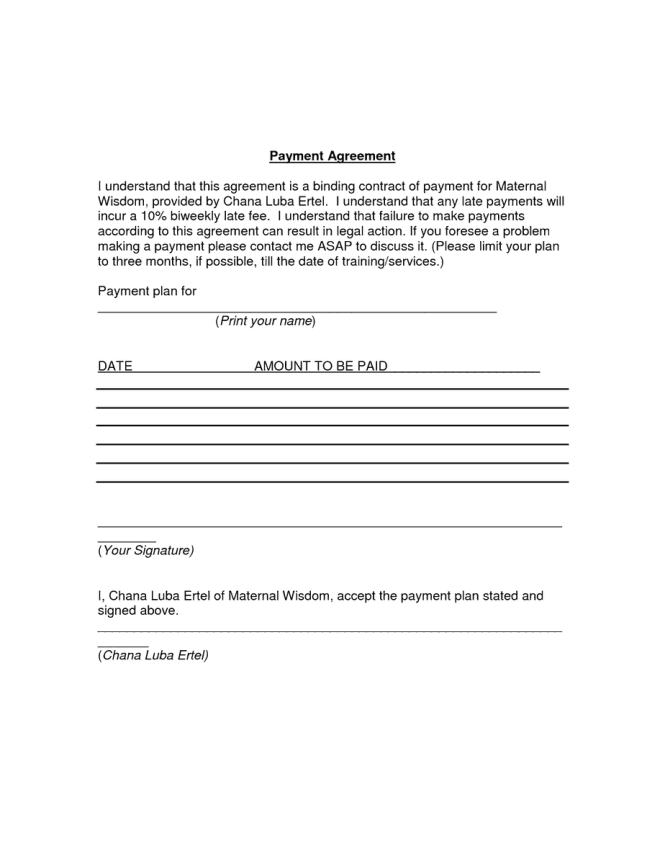 5 payment agreement templates word excel pdf formats for Wage agreement template