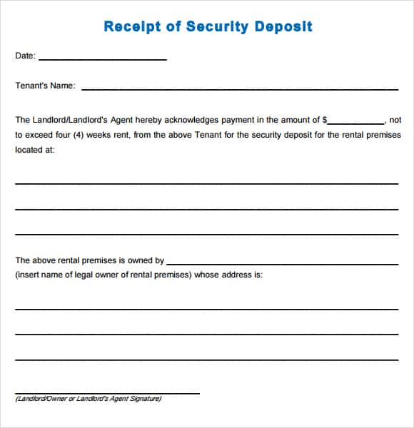 security deposit receipt template 22