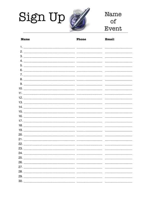 sign up sheet template 22