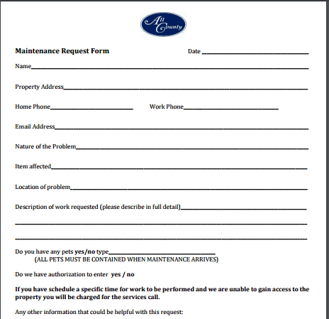 maintenance request form 22