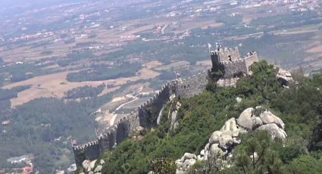 View of the Moorish castle in Sintra Portugal