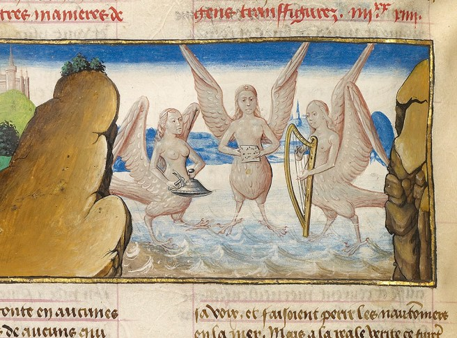 Image result for Medieval manuscript Greek Sirens