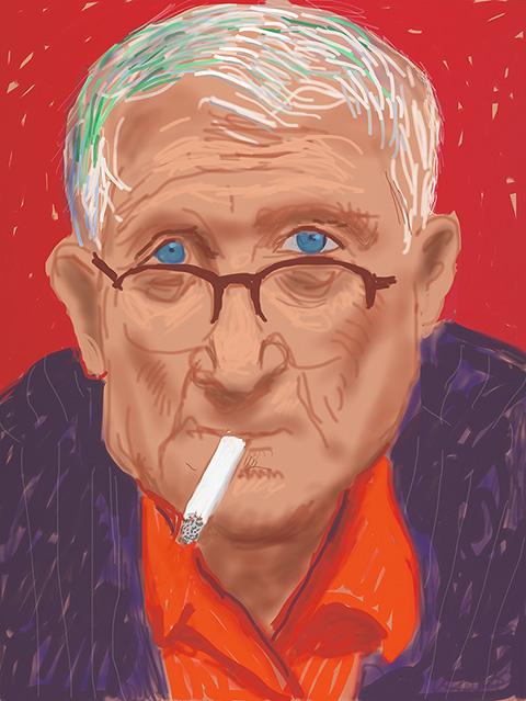 <em>Self Portrait, 20 March 2012 (1219)</em>, 2012, David Hockney, iPad drawing printed on paper, mounted on Dibond. 32 x 24 in. Courtesy of the artist. © David Hockney
