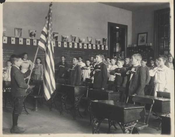 Students Saluting American Flag Getty Museum