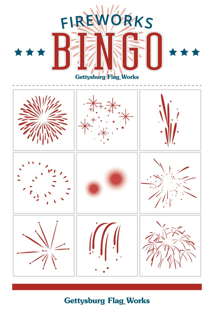 hight resolution of fireworks bingo cards