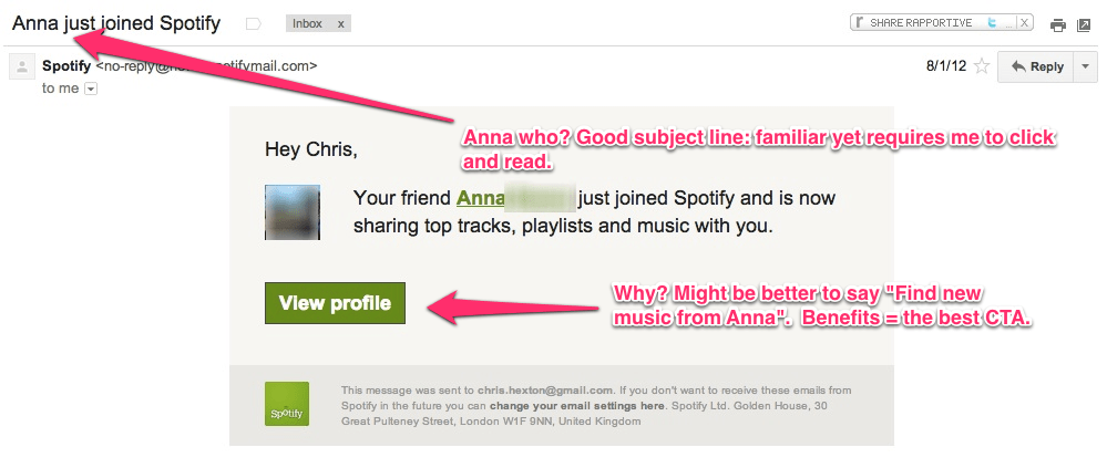 Spotify friend joined email marketing