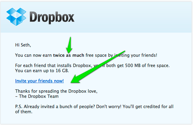 Dropbox Email Marketing 500MB