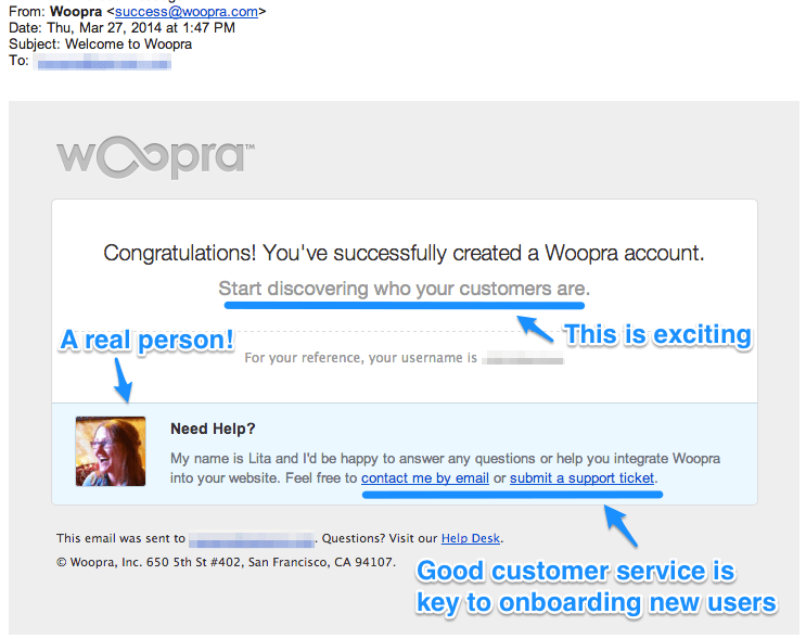 Woopra Welcome Email