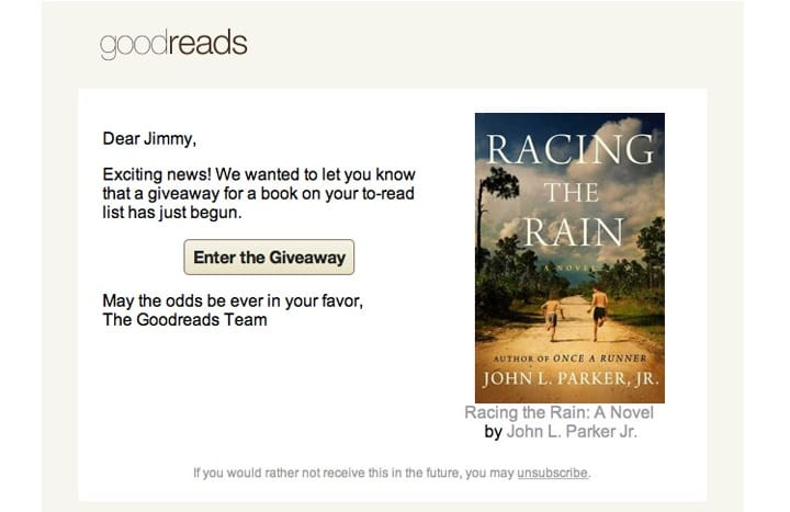 Goodreads retention email