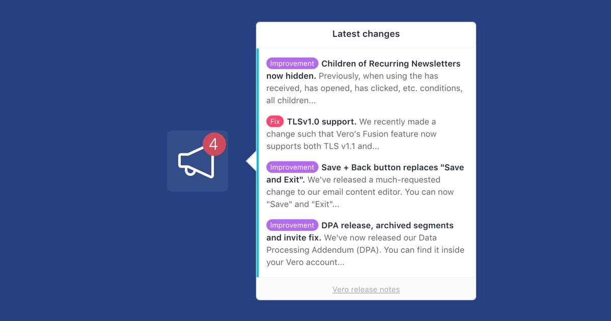 Release notes widget