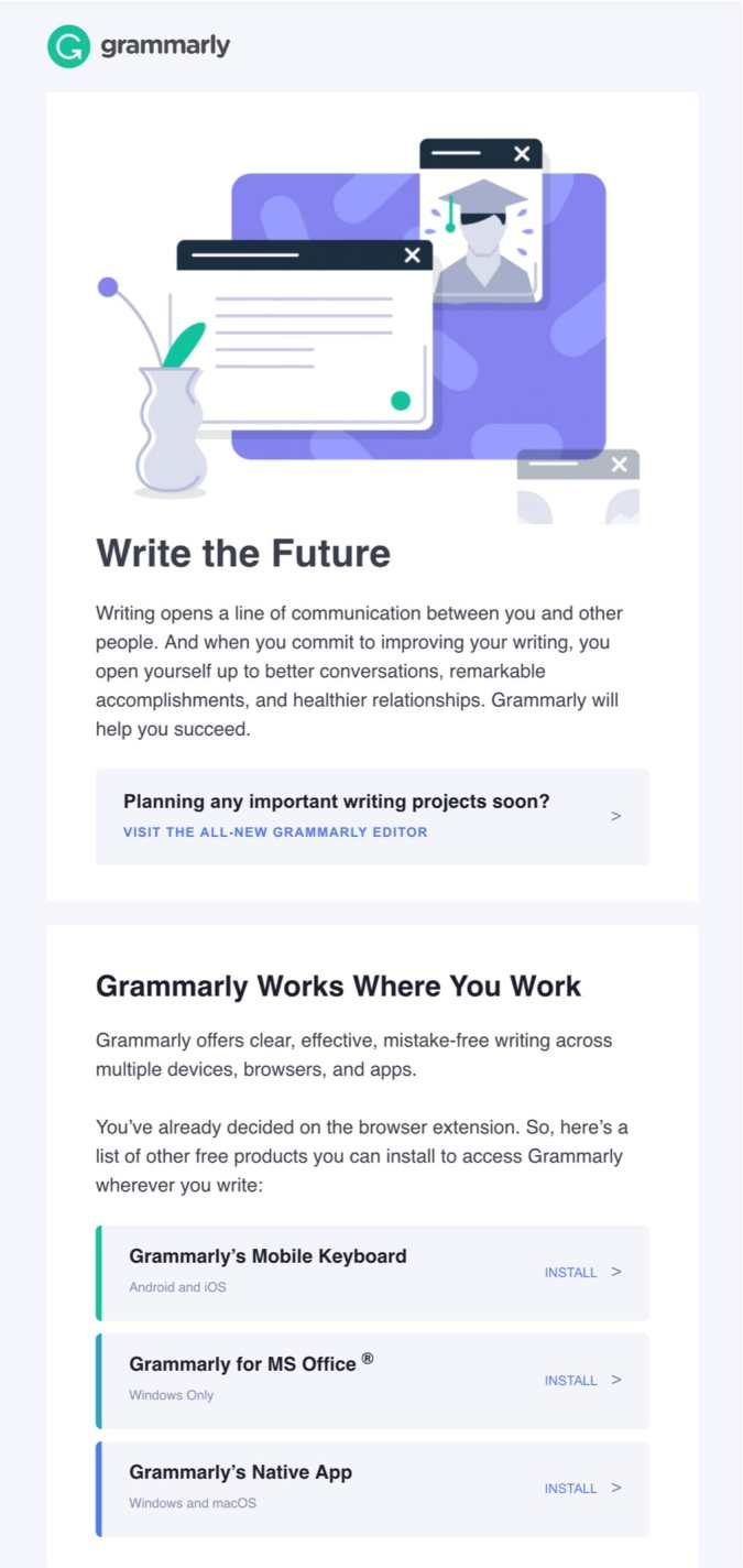 welcome email example grammarly
