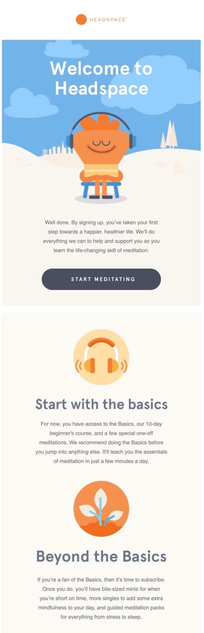 welcome email example headspace