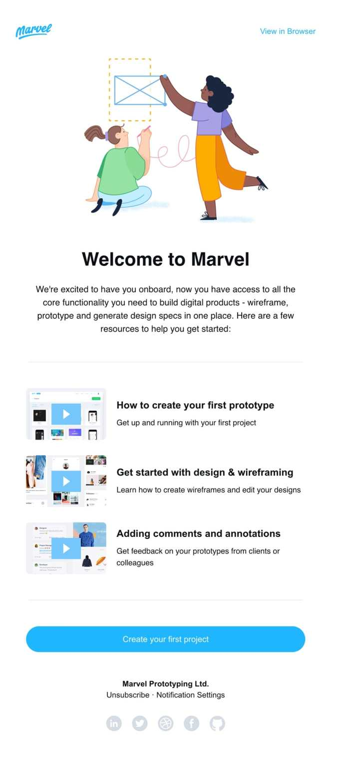 welcome email example marvel