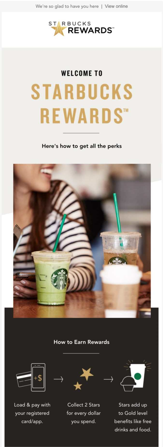welcome email example starbucks