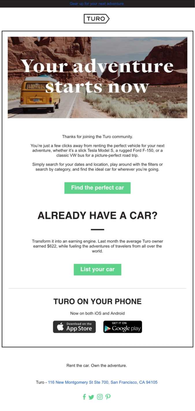 welcome email example turo