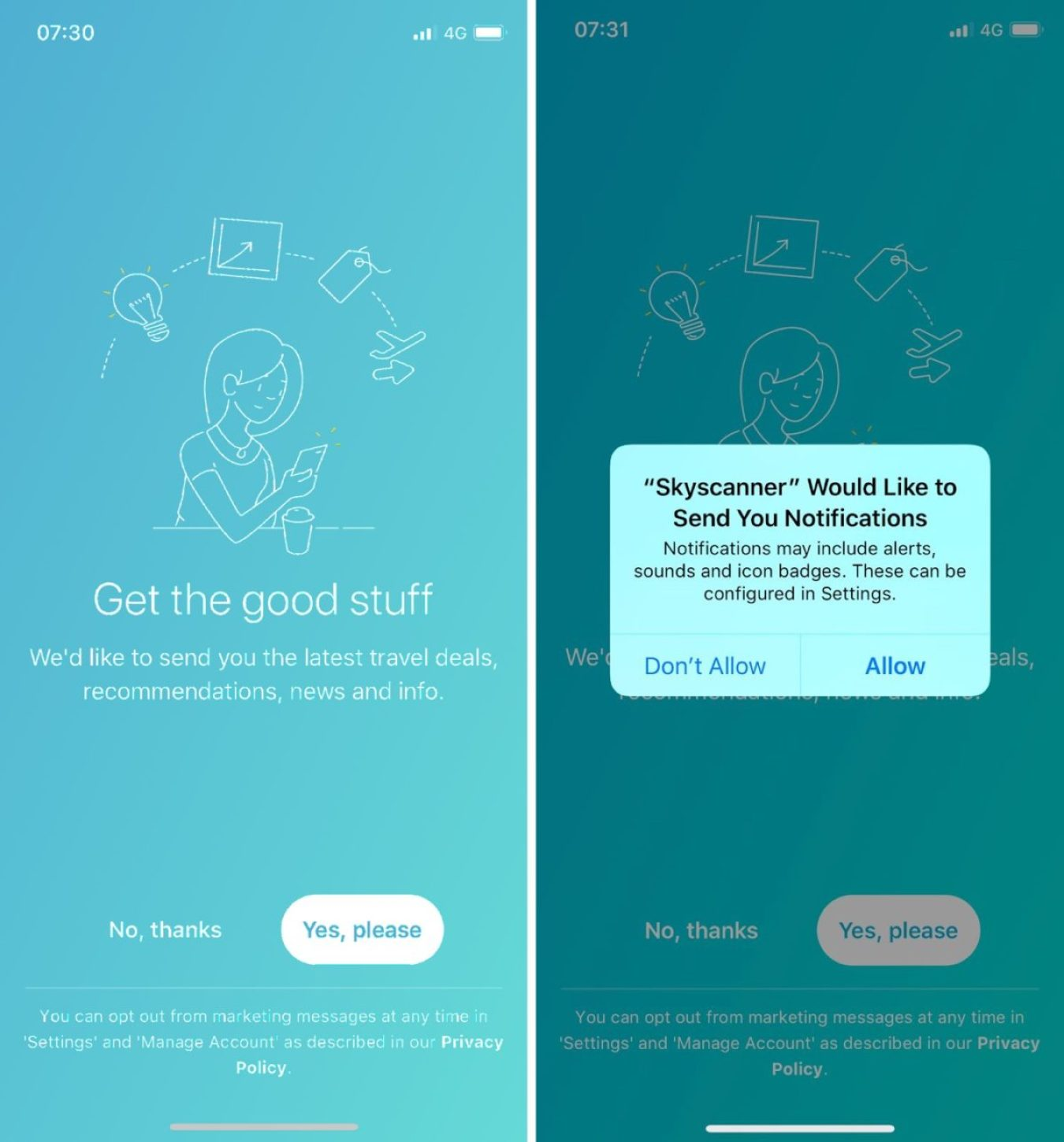 asking for mobile push notifications permissions skyscanner